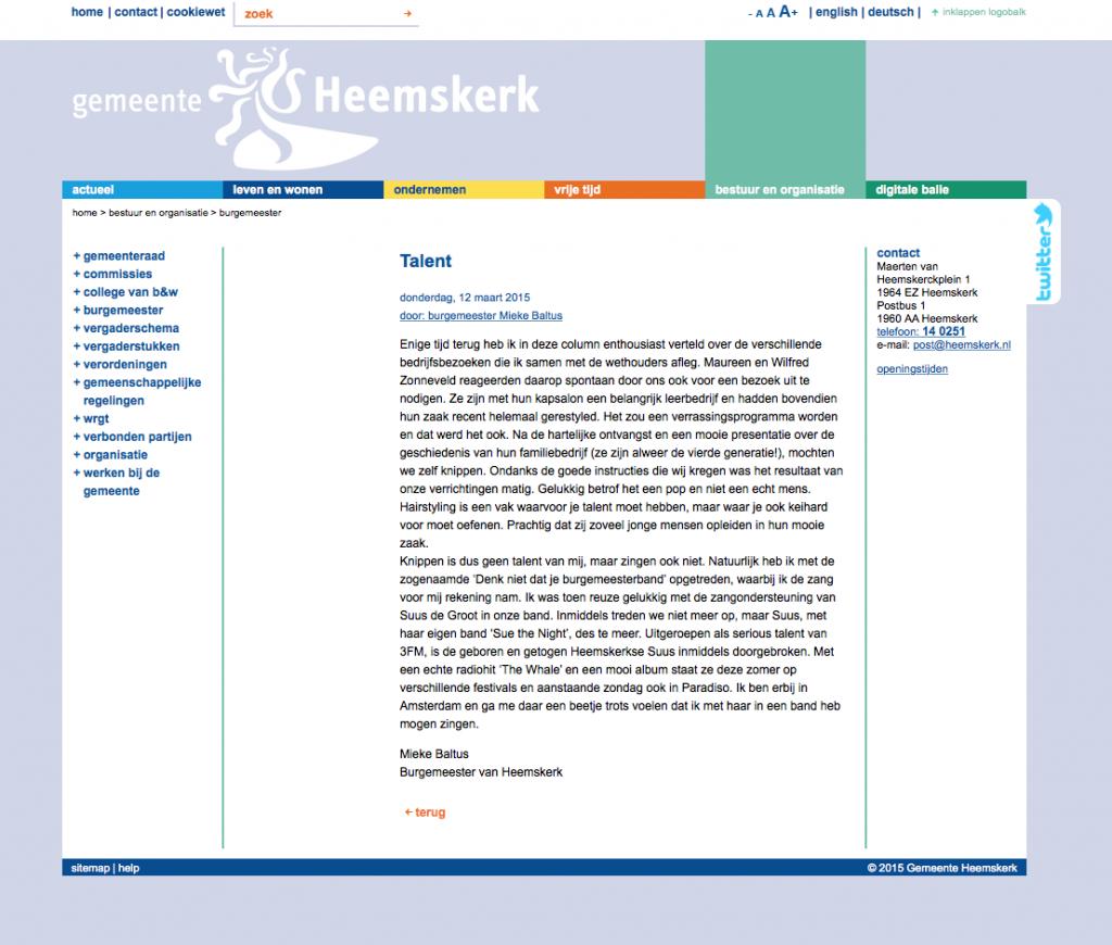 Column Burgermeester Heemskerk